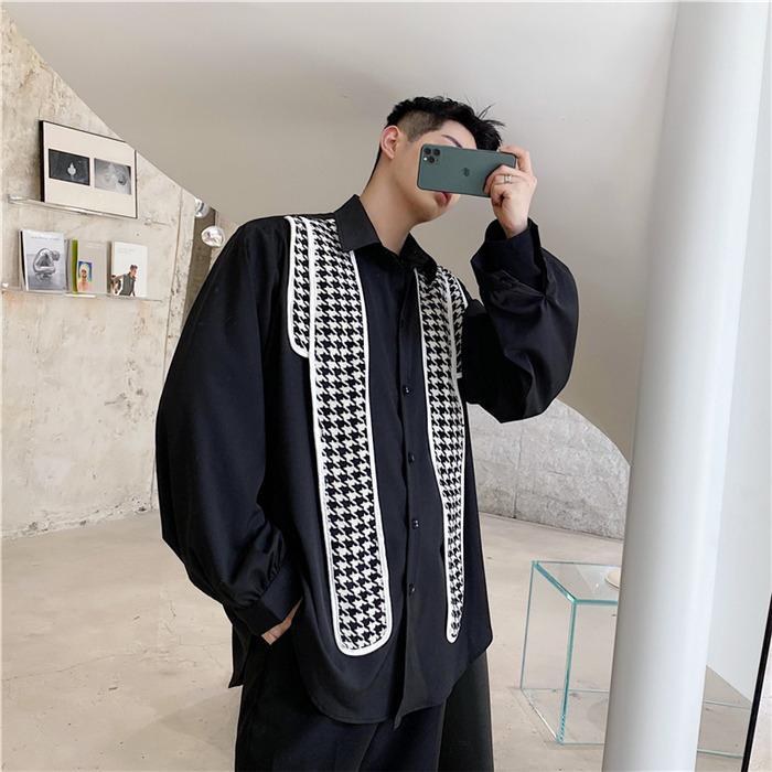 【H.BANDWAGON】多造型/氣質小香風千鳥格紋披肩設計寬鬆假兩件長袖襯衫