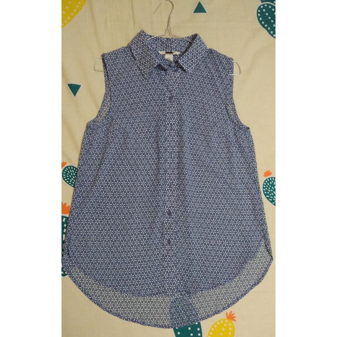 H&M Blouse Sleeveless Biru Blus Tanktop