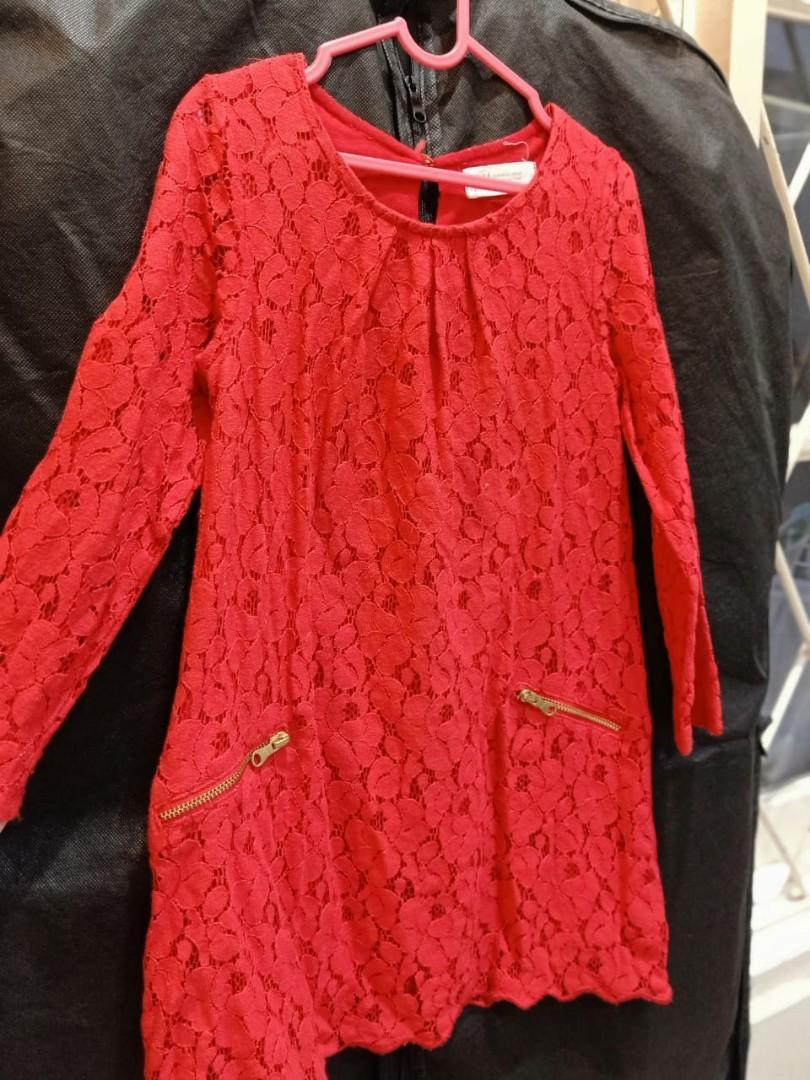 HnM dress brokat merah