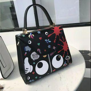 Huer Eye Theme Printed Satchel Bag