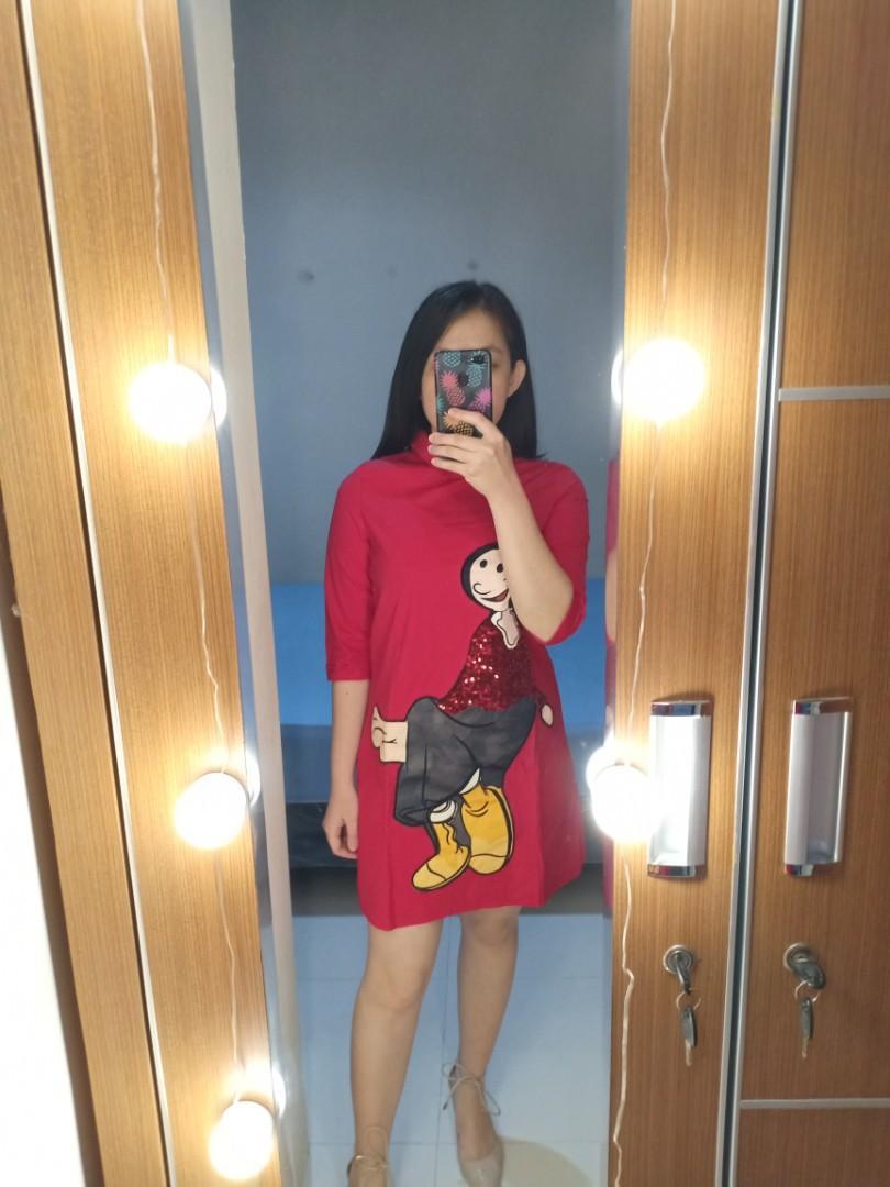 Import Red Shirt Dress Kemeja Merah