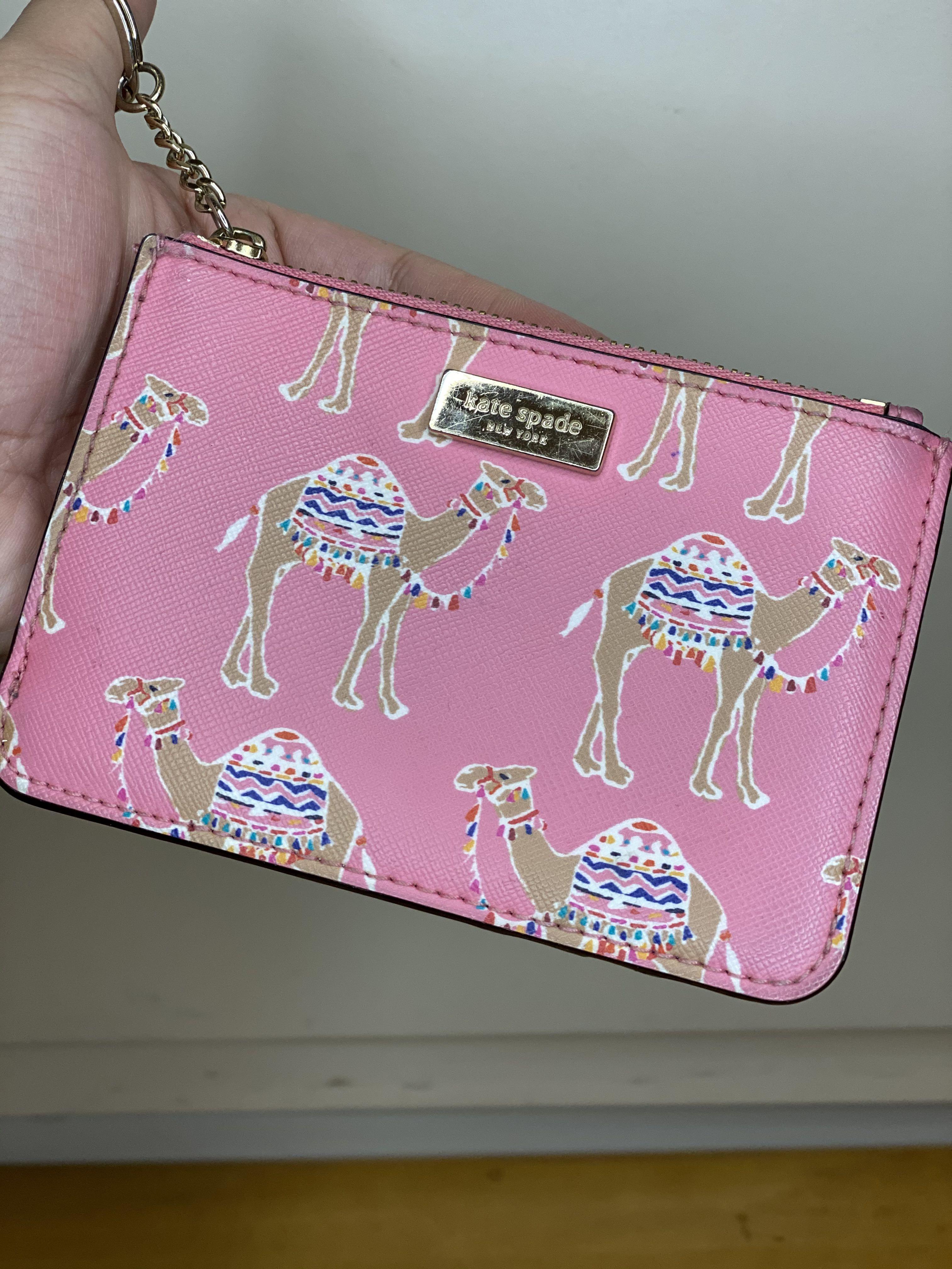 Kate Spade Card Holder Keychain - Pink Camel Print