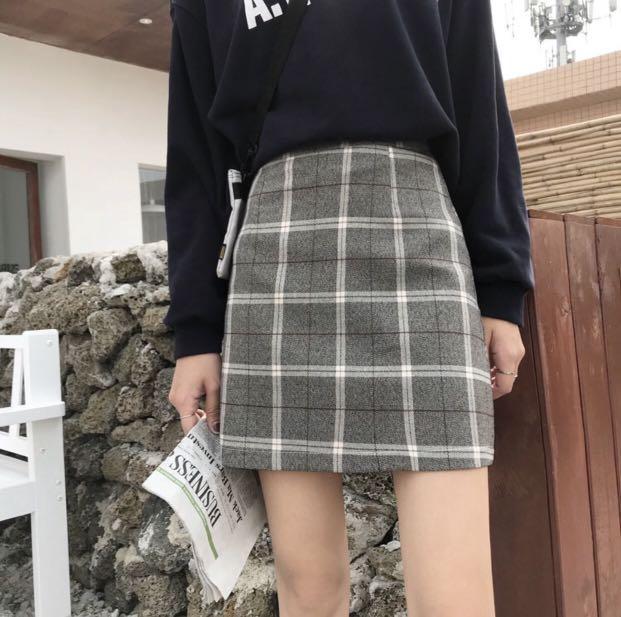 korean skirt tartan