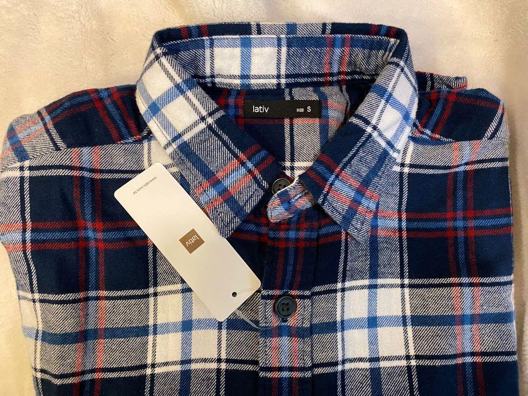 全新Lativ 法蘭絨藏青紅白格紋棉質襯衫