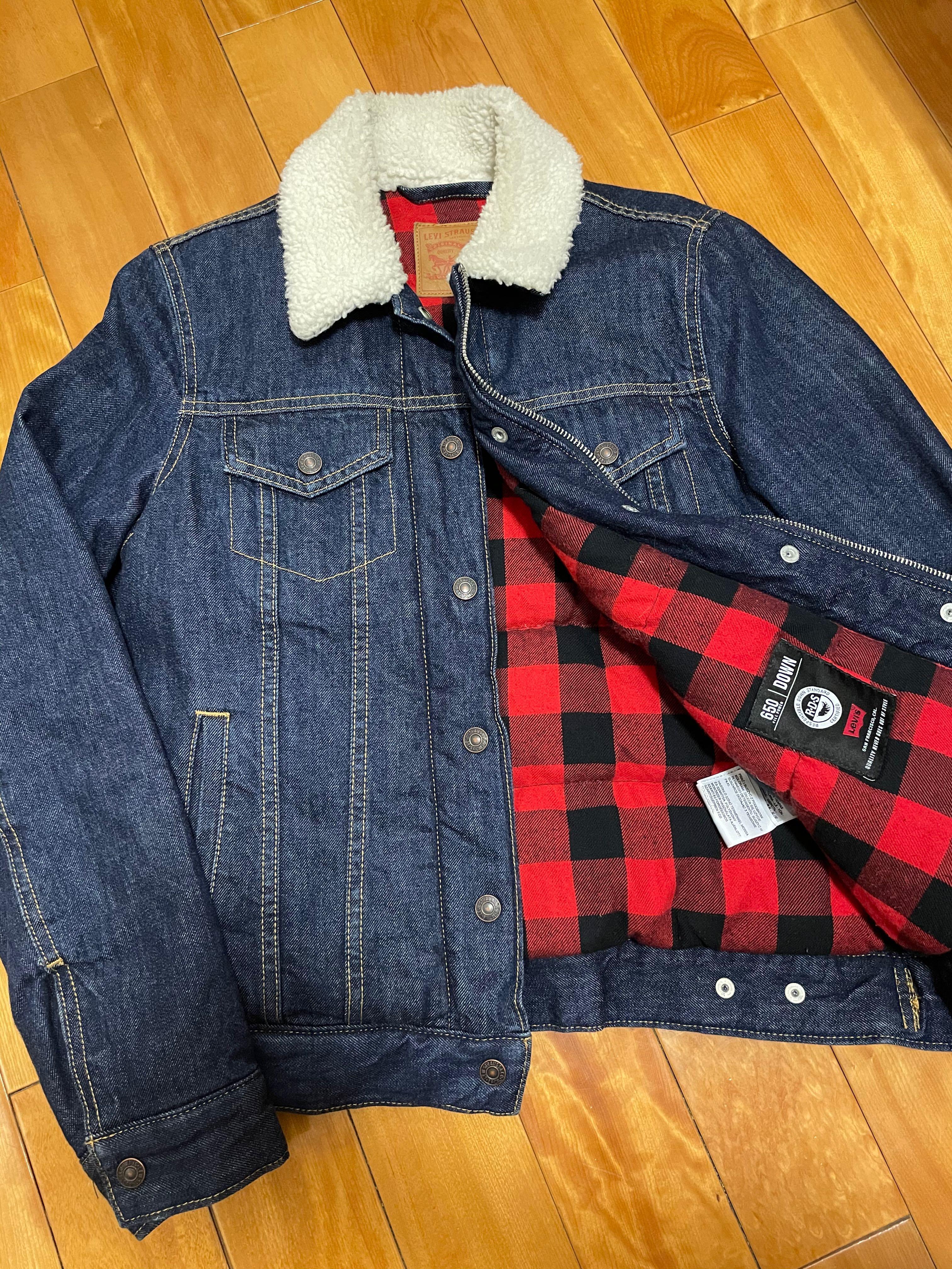 Levi's 內裡鋪棉格紋 毛領外套
