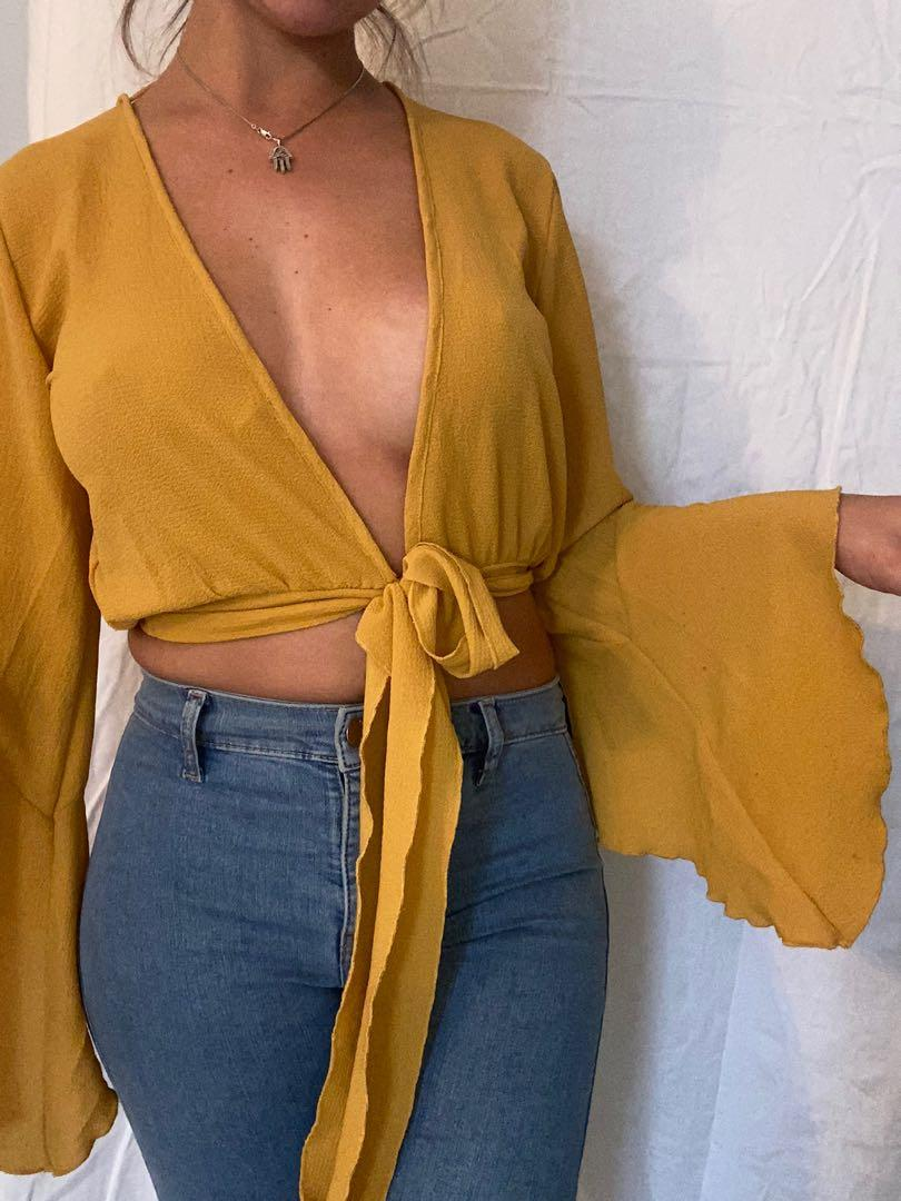 M boutique yellow crop top