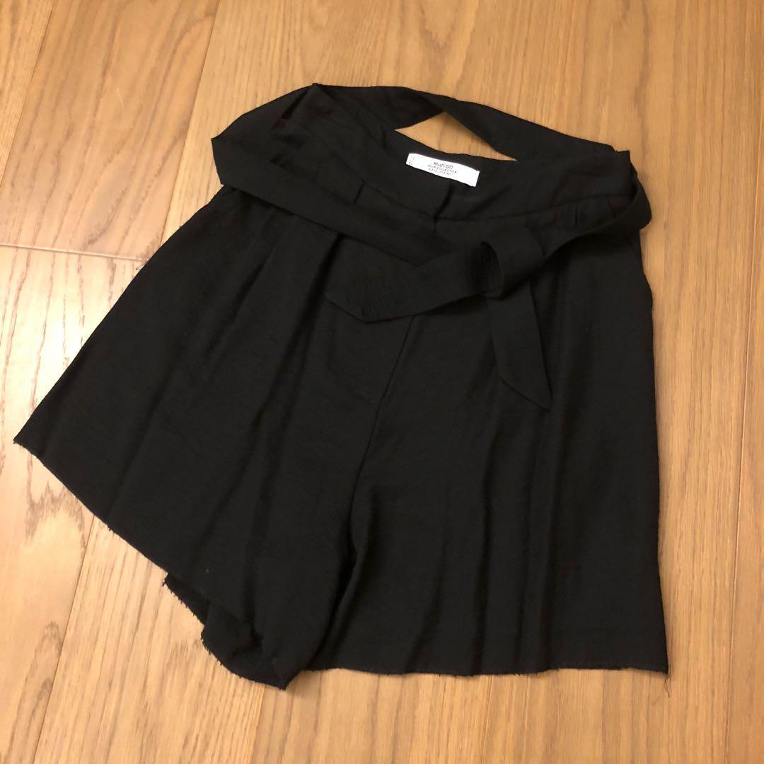 Mango黑色  綁帶高腰褲 休閒與商務兼可搭配 EUR36 最後一張官網尺寸表可參考