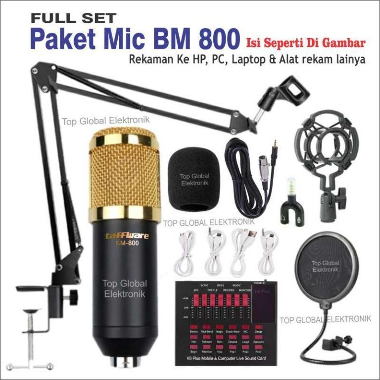 MIC CONDENSER BM 800 + SOUNDCARD V8