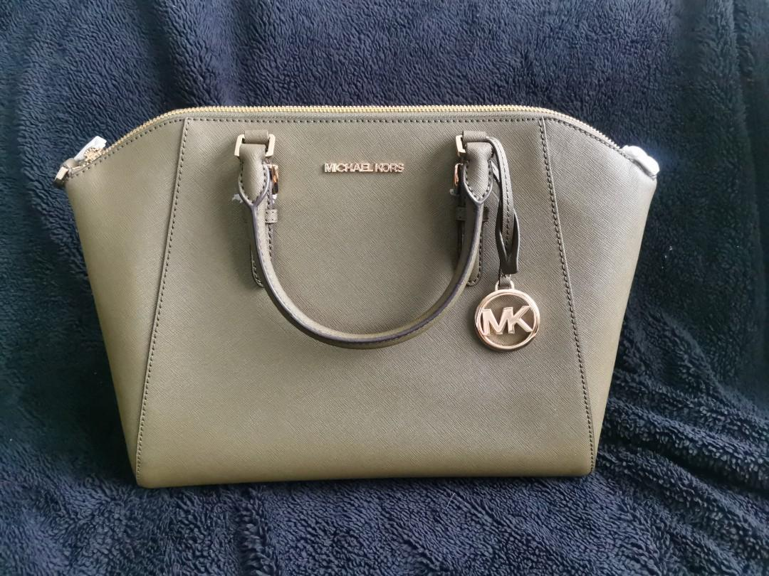 MICHAEL KORS green satchel with sling