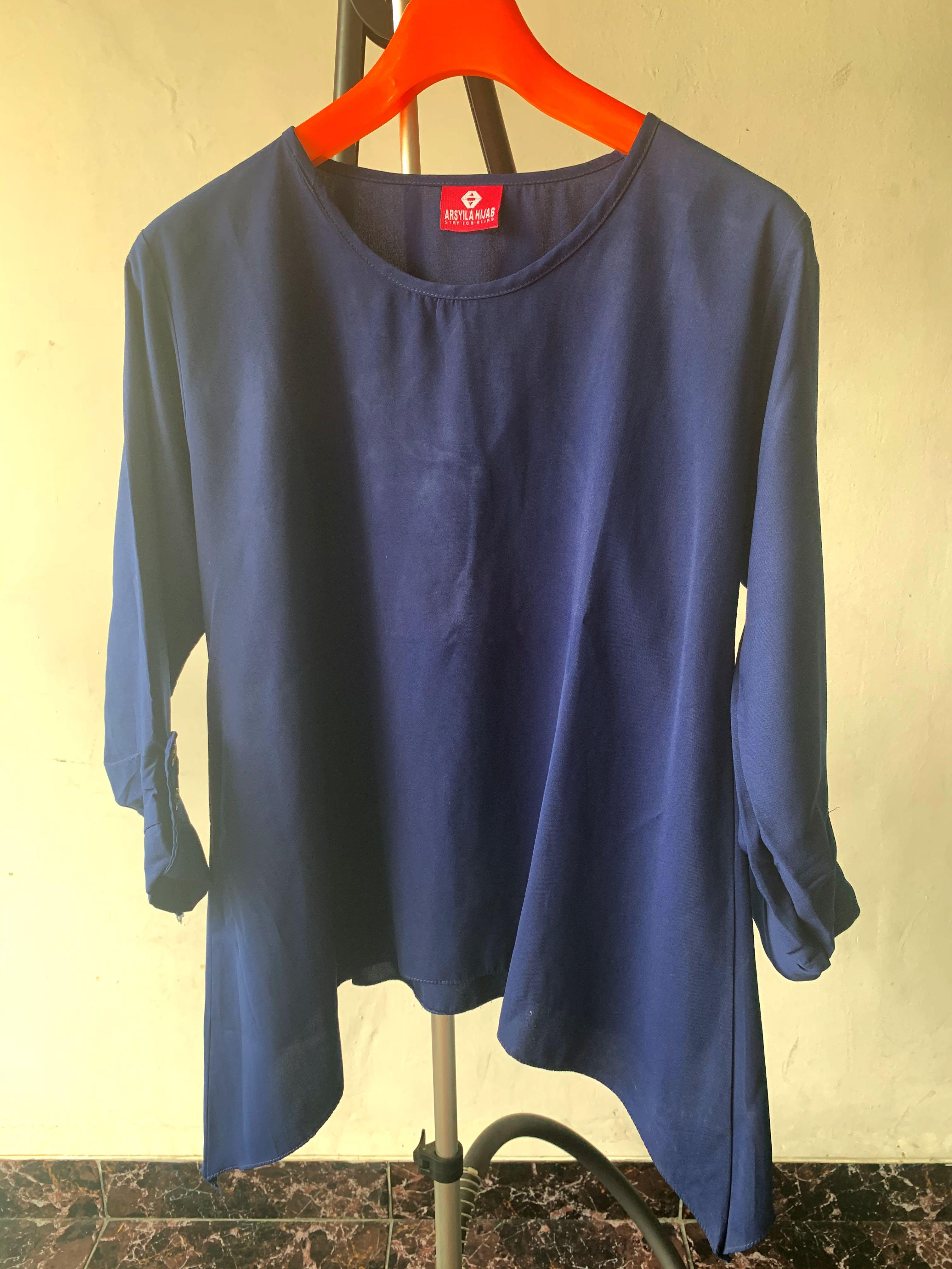 Navy blouse Big Size