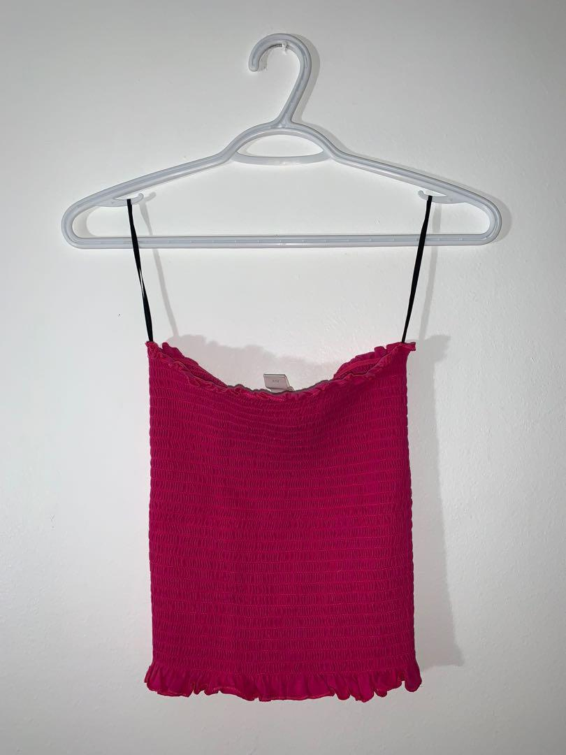 Ruched Pink Tube Top