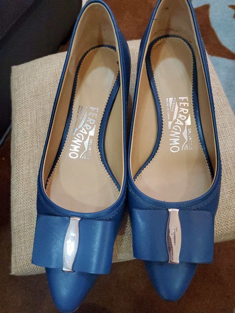 salvatore ferragamo土耳其藍跟鞋