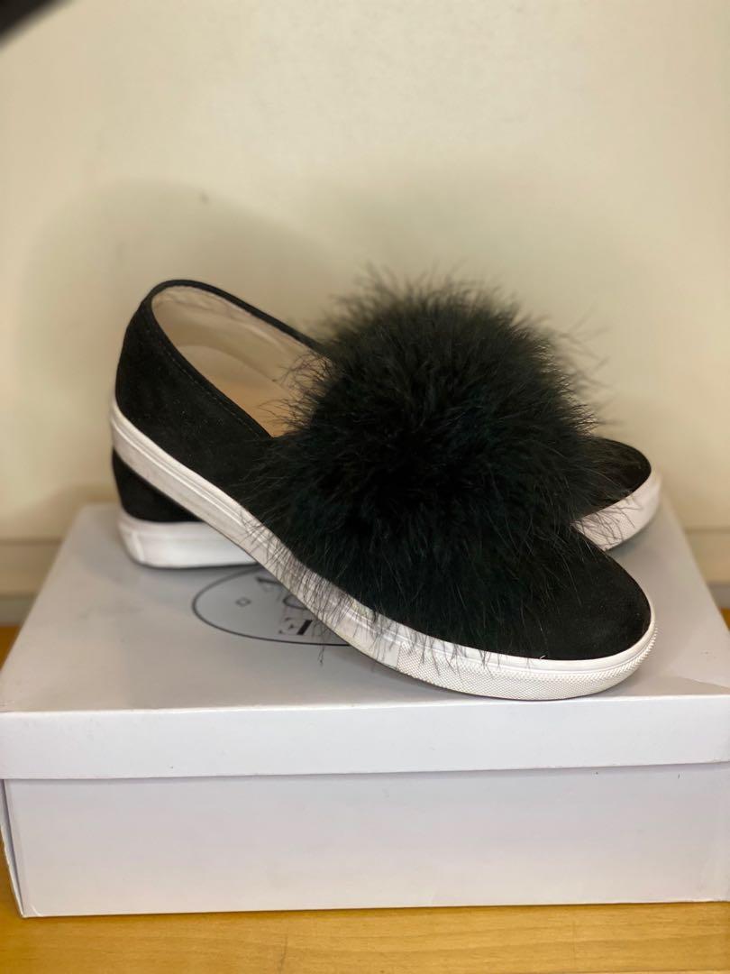 Steve Madden Black Fur Slip-ons