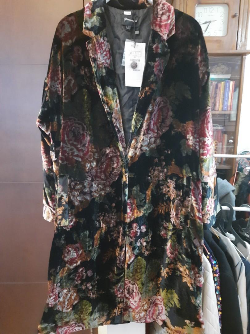 Stradivarius floral garden velvet blazer coat
