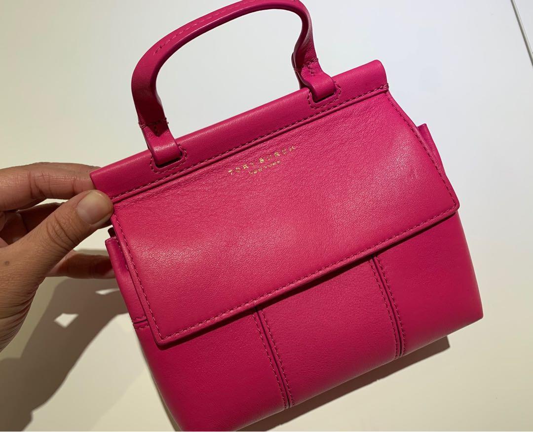 全新ToryBurch Tb 春夏桃紅斜背包側背包手提包 小書包 迷你包