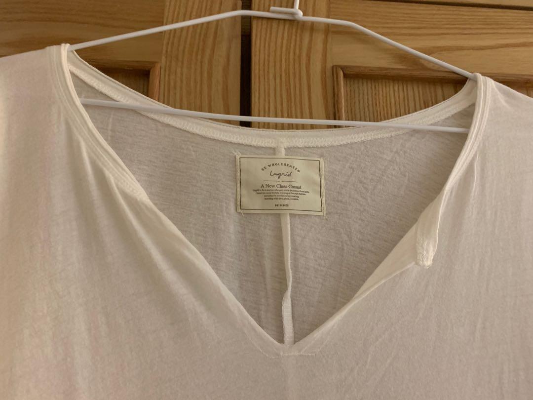 Ungrid 經典基本款捲捲邊V領T-shirt(白)