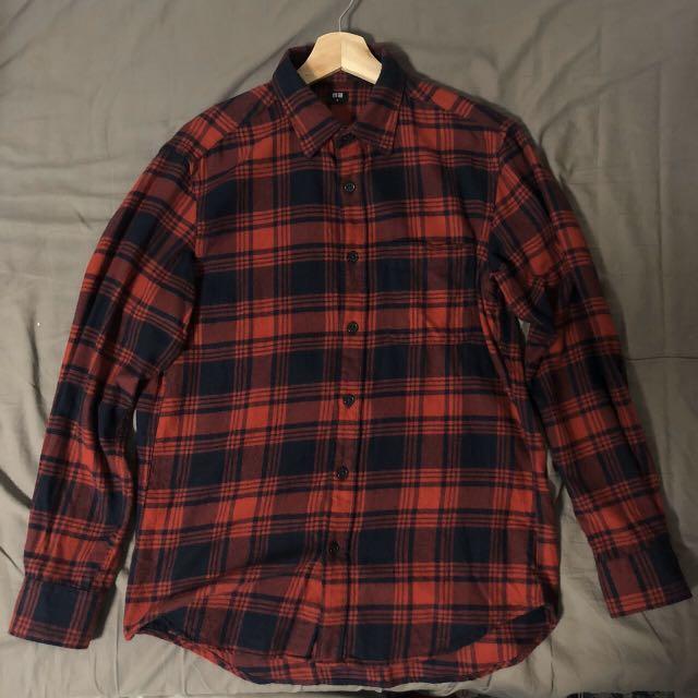Uniqlo 法蘭絨襯衫 紅黑 M號