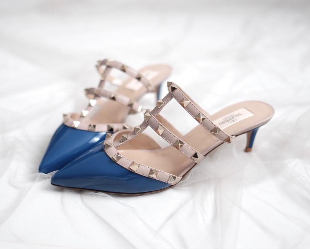 Valentino Kitten Mules 6cm Blue Delf Patent Size 36 36,5 37 37,5 38 39 39,5 40