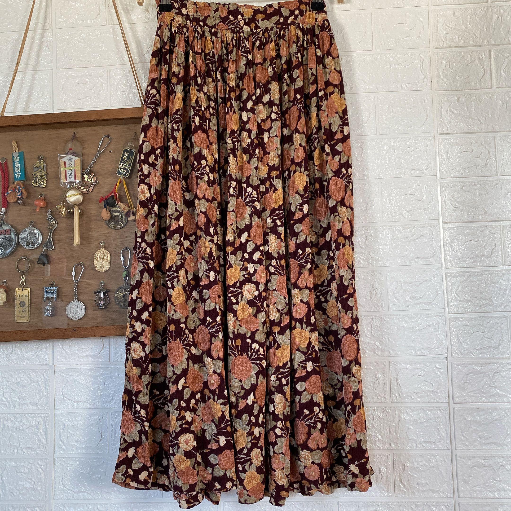 Vintage棉麻滿版玫瑰長裙