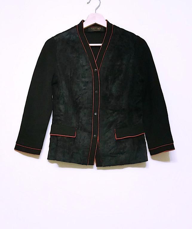 VINTAGE異材質拼接高級訂製開襟外套