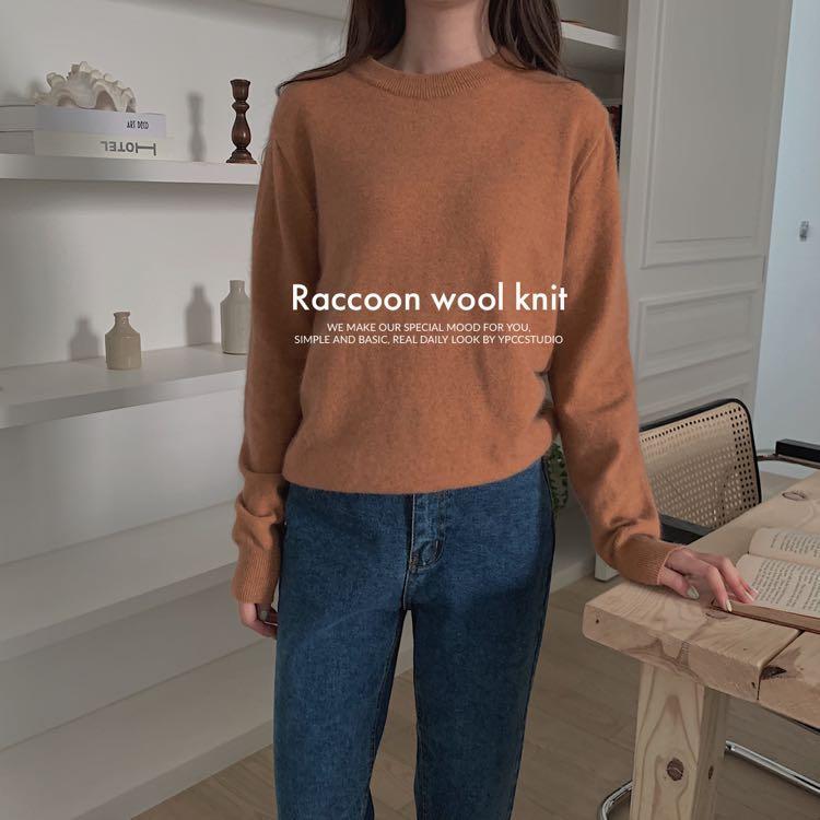 YPCC (raccon+wool) 完美偽裝小骨架 浣熊毛 柔軟會發熱 薄針織衣 上衣 毛衣 浣熊毛衣 正韓 韓國代購