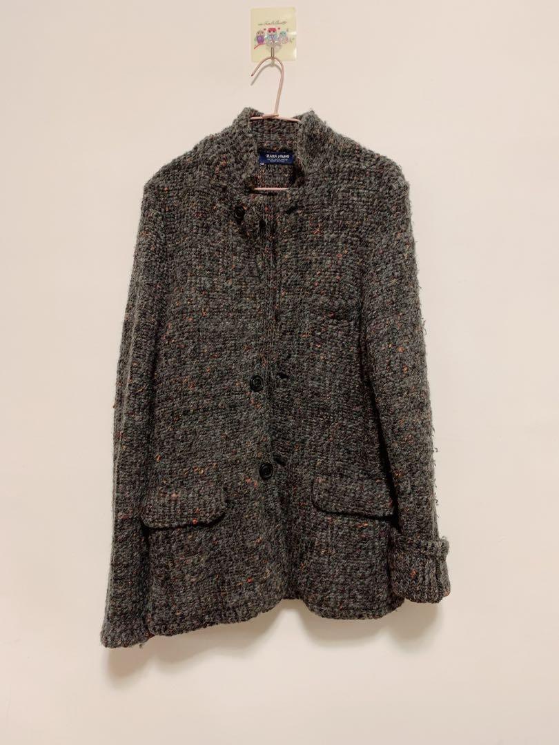 Zara 保暖針織大衣羊毛外套