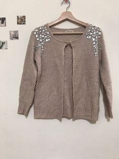 粉杏氣質寶石針織上衣(小外套)