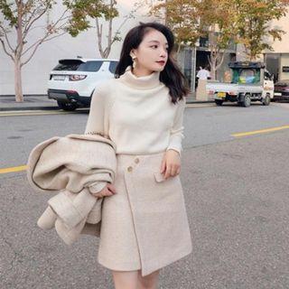 米色條紋氣質造型短裙 僅裙子#斷捨離