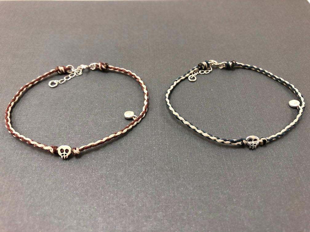 手作 臘線混色+925純銀 骷髏款 手鍊 (可客製)