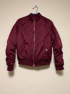 全新 鋪棉酒紅色飛行外套