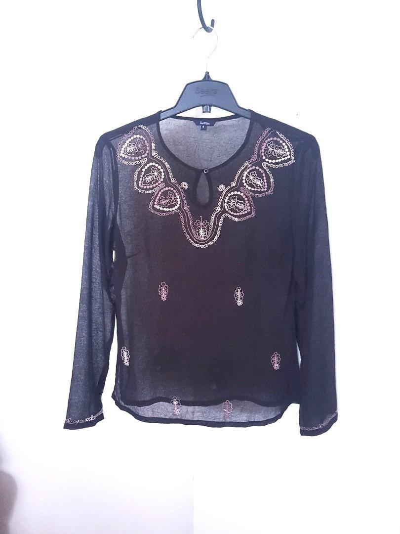 Boho sheer Embroidered tunic top