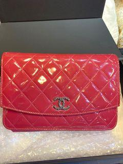 Chanel Wallet on chain 粉紅色漆皮