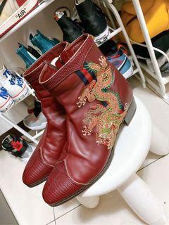 Gucci  真皮龍繡 短靴  皮鞋  休閒鞋 2018年購入 購入價6萬多 少穿  真品「「不留了 隨便賣 要的帶走」」