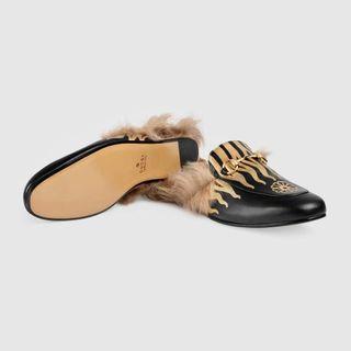 Gucci Princetown 黑皮革 火焰 美利諾羊毛 毛毛鞋  拖鞋 2018購入 3萬8左右 真品 數量超少「「不留了 隨便賣 要的帶走」」