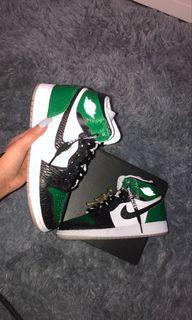 "Jordan 1s PINE GREENS 1.0 ""crocodile skin"""
