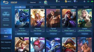 Mobile legend acc to let go! 85 skins plus many epic skins