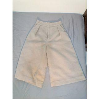 [日本古著店購入]泰迪熊毛毛高腰七分厚寬褲 毛絨寬褲