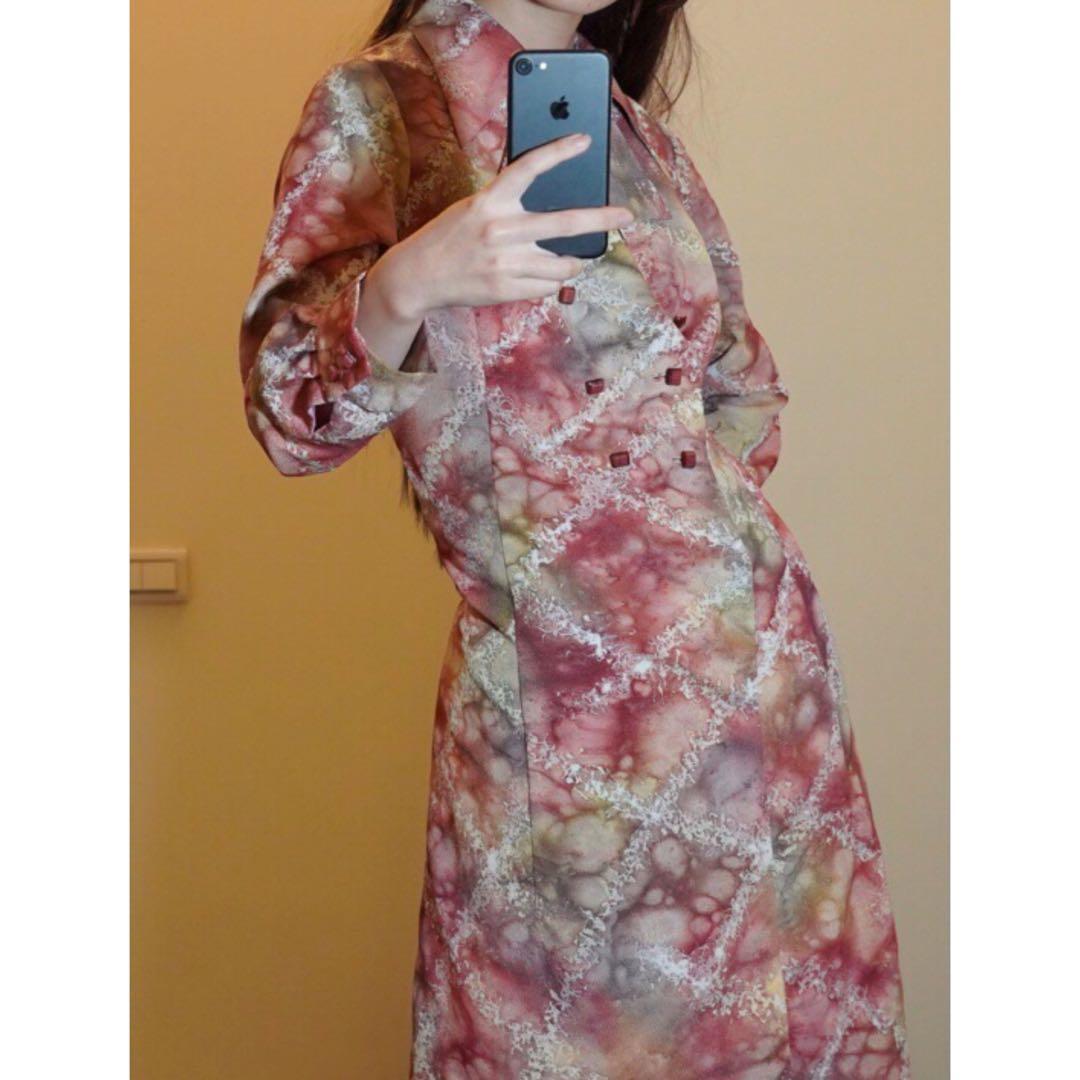 樣衣全新 古著  昭和 印花 微觀 連身裙復古  洋裝