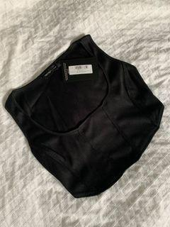 Black Rib Corset Detail Crop Top