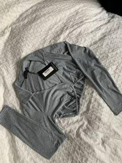 Grey Jersey Collar Crop Top