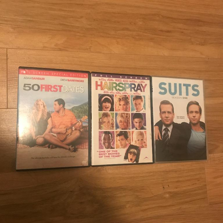 Hairspray, Suits & 50 First Dates DVDs