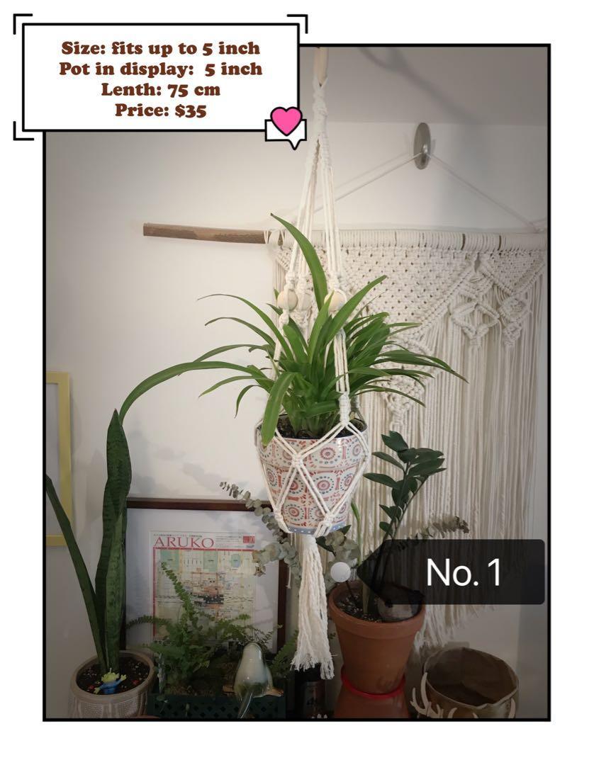 Handmade macrame plant hanger.  Natural White