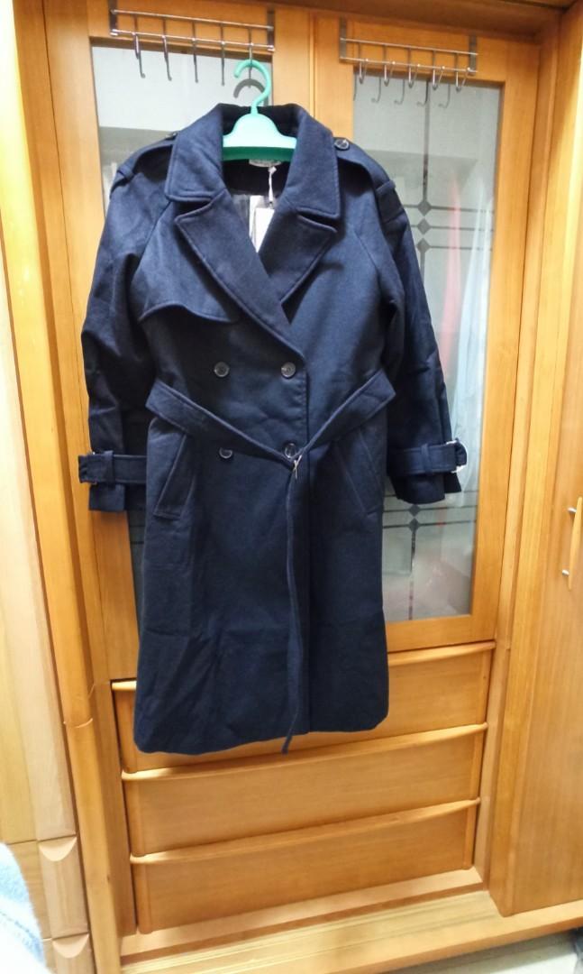 全新---韓版重磅毛呢長版大衣(L號)