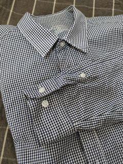 MUJI 暗藍細格紋襯衫