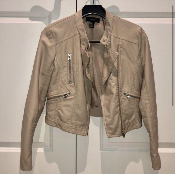Nude Faux Leather Moto Jacket