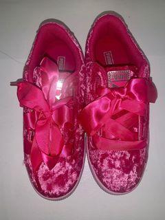 Pink Crushed Velvet Puma's