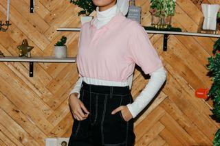 Reworked Crop Pink Polo