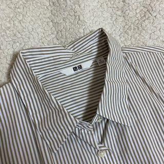 Uniqlo 條紋襯衫 淺咖 淺卡其 XL