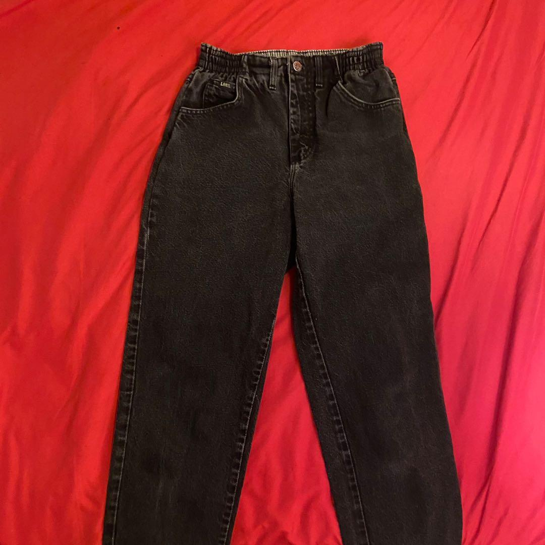 Vintage Retro Black High Waisted Jeans - size 40