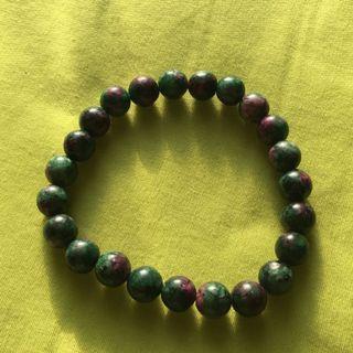 """7.5"""" Faux Ruby Zoisite Bracelet"""